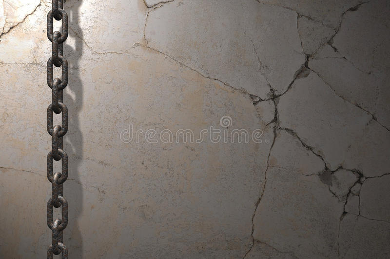 Chain on the wall. Grunge wall background with a chain hanging in front royalty free illustration
