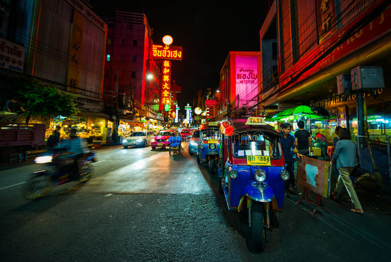 Chaina stad på natten royaltyfri bild
