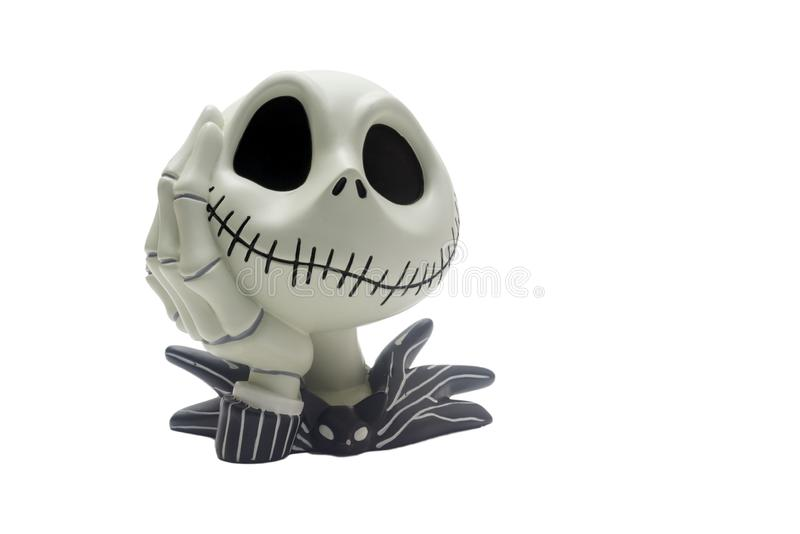Chainat Province, Thailand, January 31, 2018. illustrative editorial Jack Skellington figurine , Nightmare Before Christmas.  stock photography