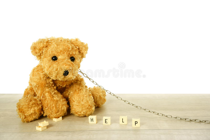 Chained Animal crying for help stock image