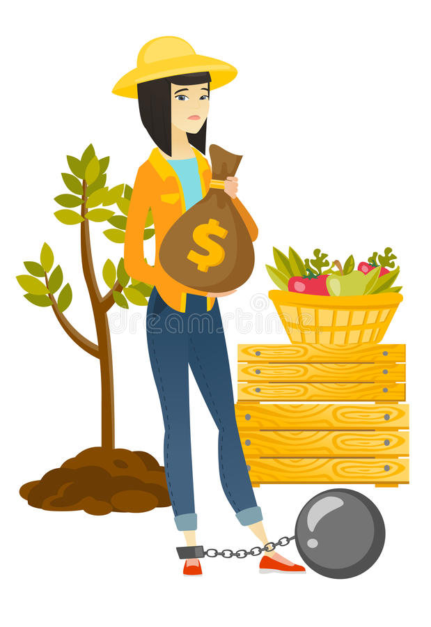 Chained asian farmer holding a money bag. Young asian farmer showing bag with money for payment of taxes. Captive farmer holding a bag with taxes. Concept of vector illustration