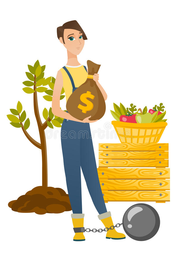 Chained caucasian farmer holding a money bag. Caucasian farmer showing bag with money for payment of taxes. Captive farmer holding a bag with taxes. Concept of vector illustration
