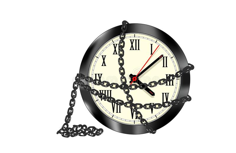Chained clock isolated. On white background stock illustration