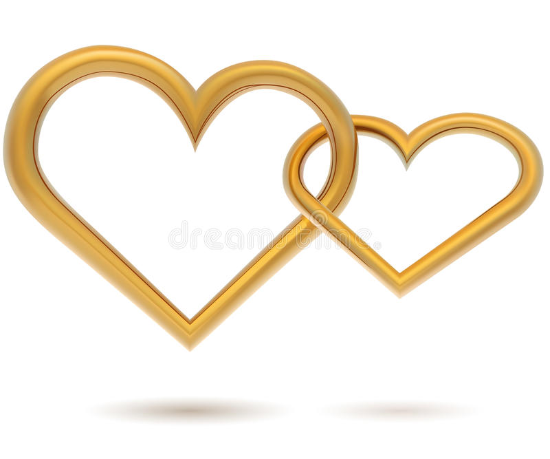 Chained gold hearts vector illustration