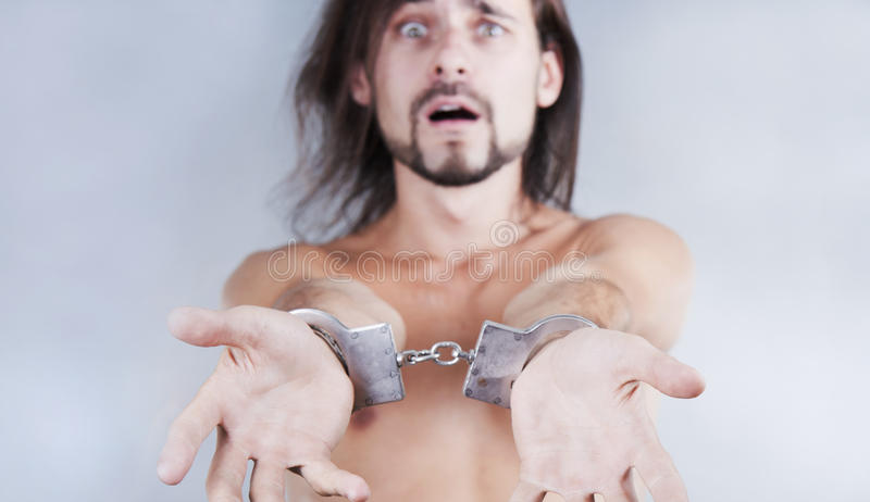 Chained in handcuffs guy