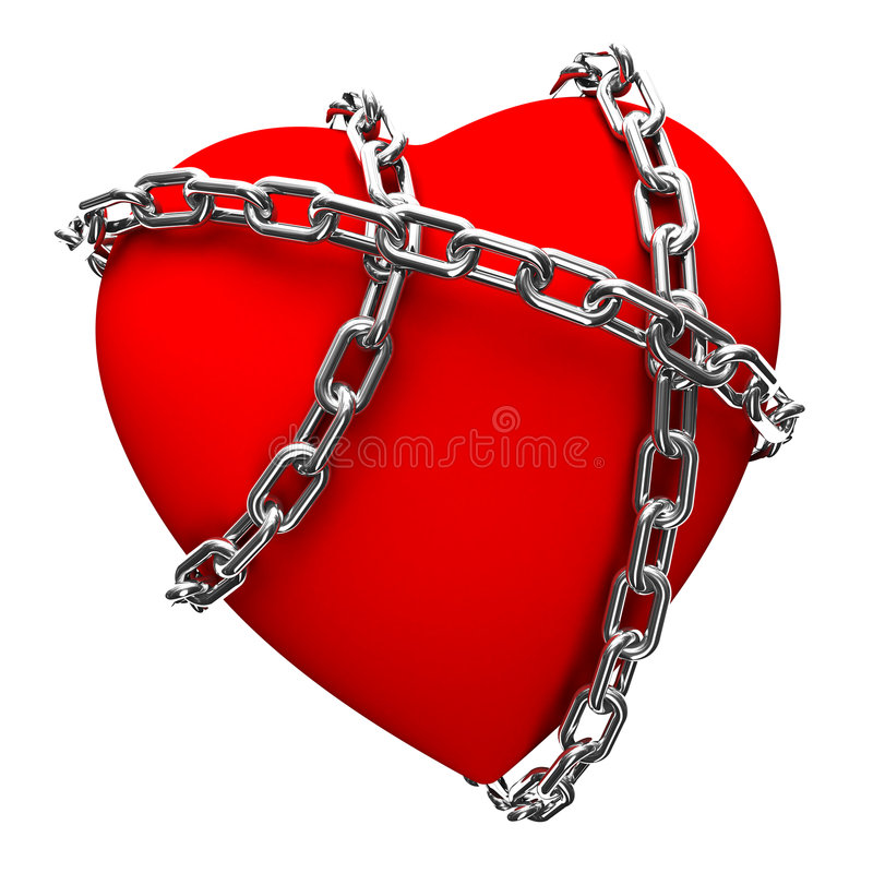 Chained heart stock illustration. Illustration of lock ...