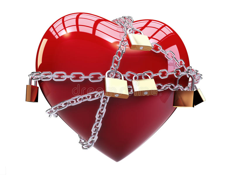 Chained heart. Isolated chained heart on white background vector illustration