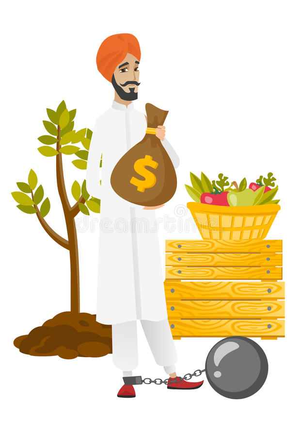 Chained hindu farmer holding a money bag. Young hindu farmer showing bag with money for payment of taxes. Captive farmer holding a bag with taxes. Tax time and royalty free illustration