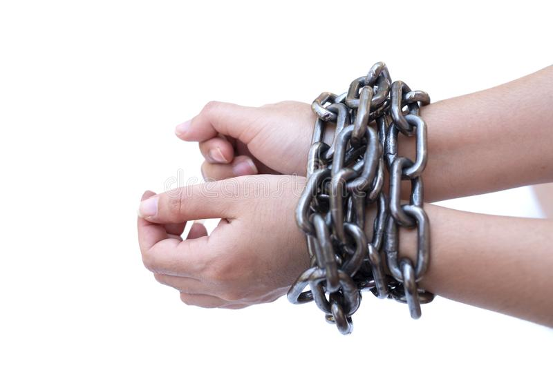 Chained lady hands on white background, Human rights violations concept royalty free stock photos