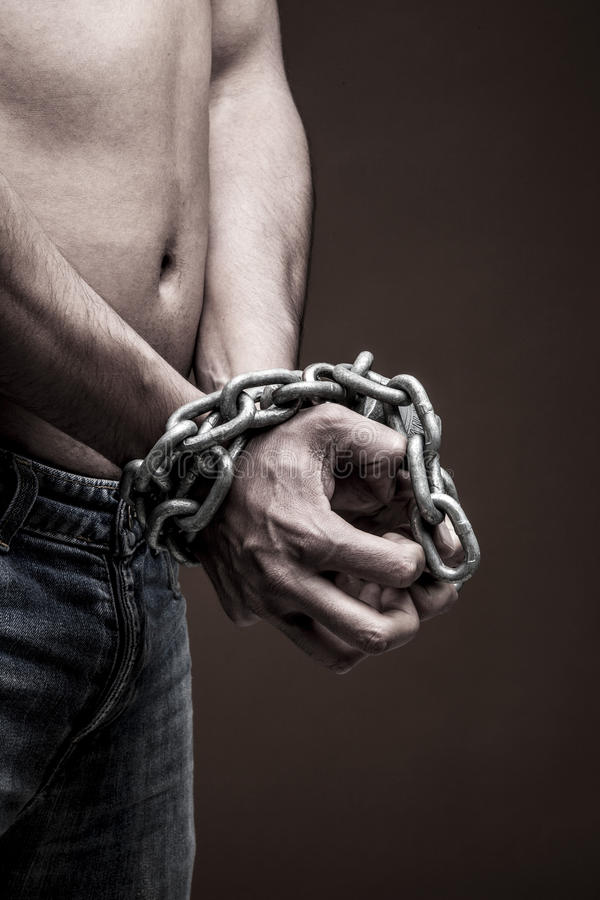 Chained man royalty free stock images