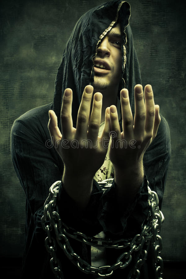 Free Chained Miserable Cultist Stock Photography - 29263482