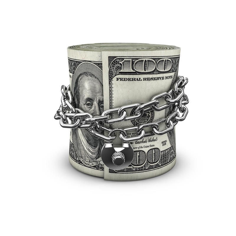 Free Chained Money Roll Dollars Royalty Free Stock Image - 55864596
