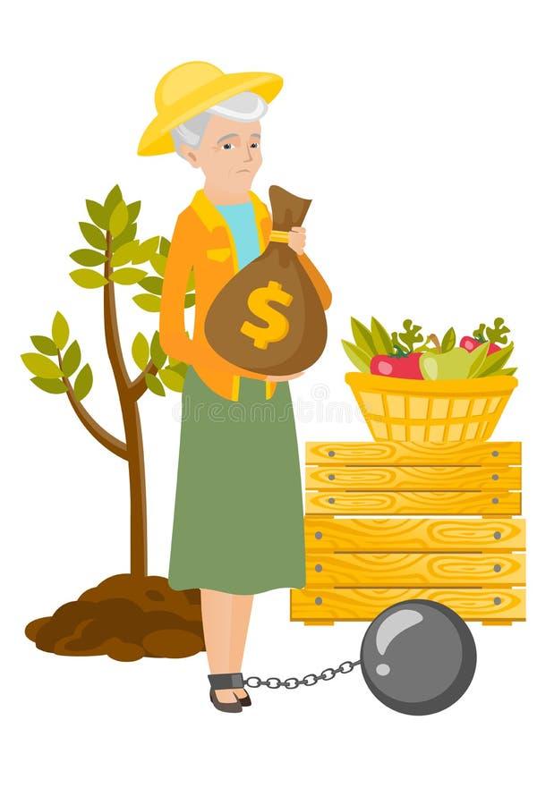 Chained senior caucasian farmer holding money bag. Caucasian farmer showing bag with money for payment of taxes. Captive farmer holding a bag with taxes stock illustration