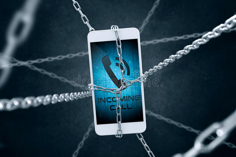 Chained smartphone with incoming call symbol. Chained smartphone with `incoming call` symbol. Conception of data security stock photography