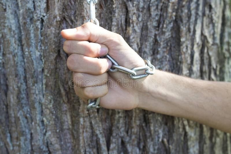 Chained to the tree. Hand chained to the tree royalty free stock photography