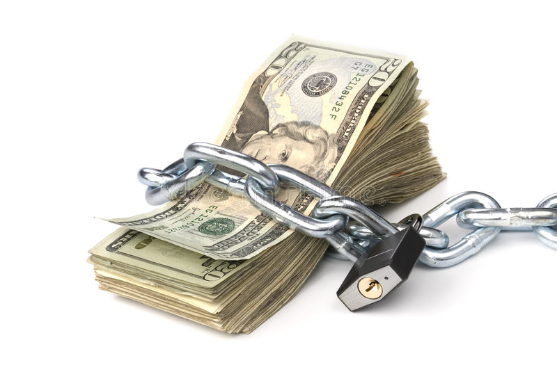 Chained Up Money Stock Photo