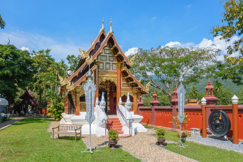 Lanna style chapel in Wat Ban Pong Temple in Hang Dong district royalty free stock images