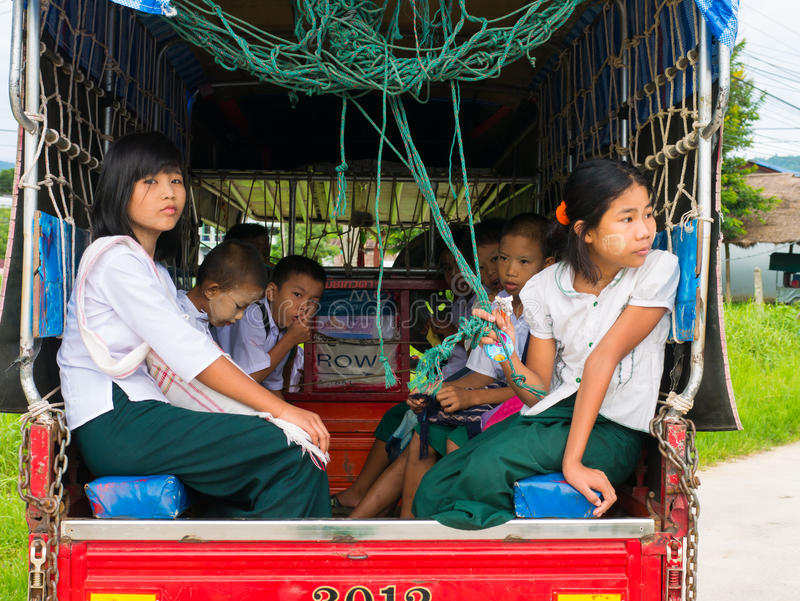 CHAING RAI, THAILAND - MAY 19 2017: Myanmar student on School bu stock images