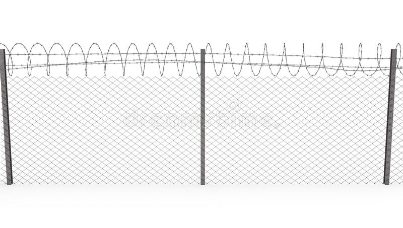 Chainlink fence with barbed wire, front view. Chainlink fence with barbed wire on top isolated on white background, front view vector illustration
