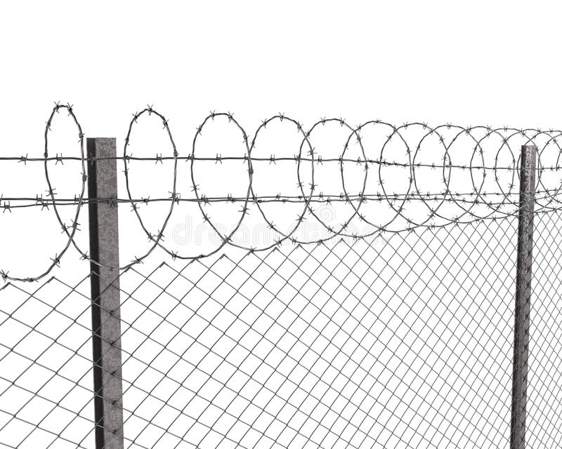 Chainlink fence with barbed wire on top. Isolated on white background vector illustration