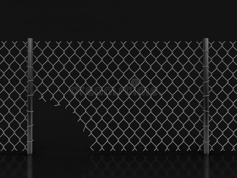 Chainlink fence with hole. Image with clipping path stock illustration