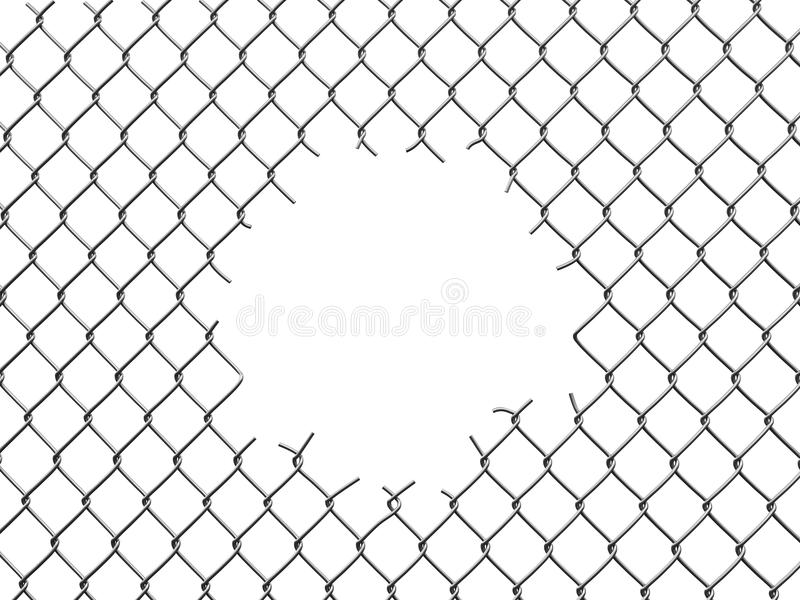 Chainlink fence with hole. Image with clipping path royalty free illustration