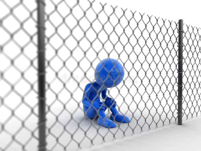 Chainlink fence and man. 3d image of Chainlink fence and man stock illustration