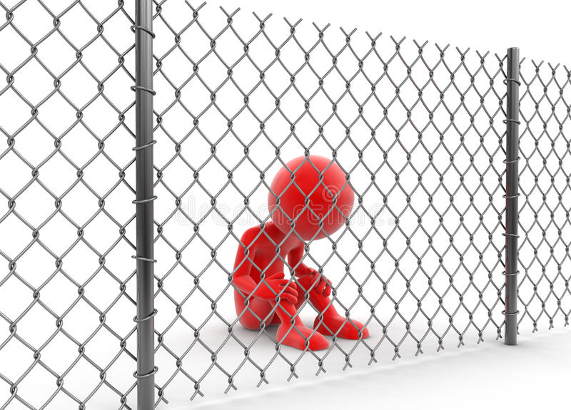 Chainlink fence and man. Image with clipping path vector illustration