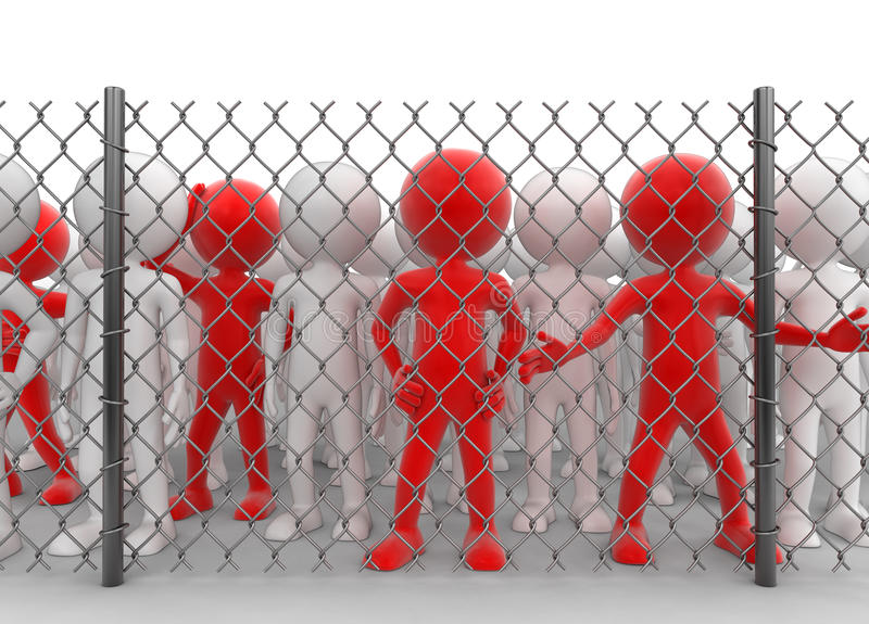 Chainlink fence and people. Image with clipping path stock illustration