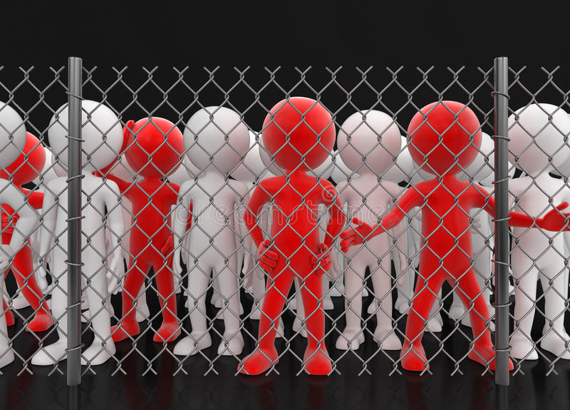 Chainlink fence and people. Image with clipping path vector illustration