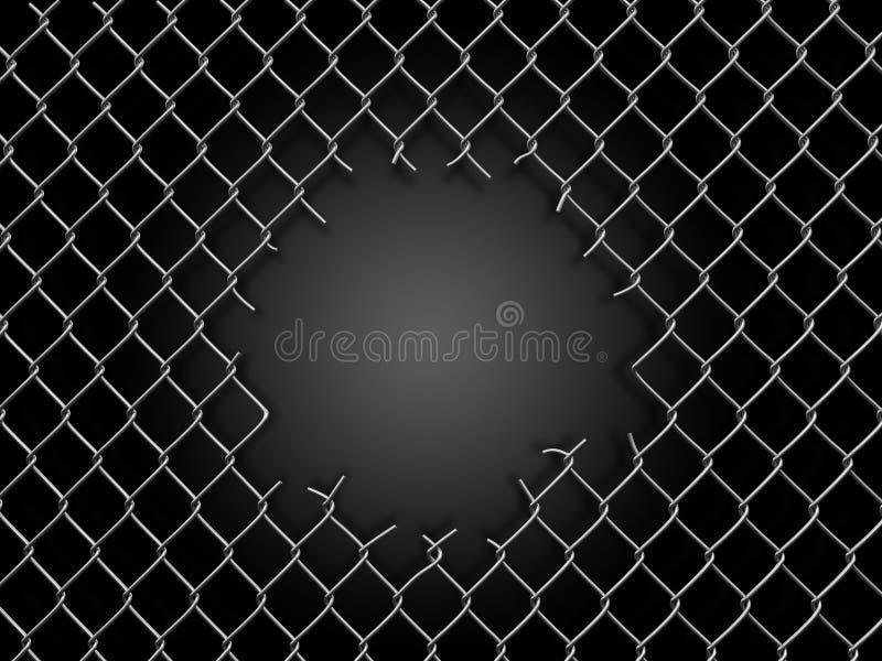 Chainlinkomheining met gat stock illustratie