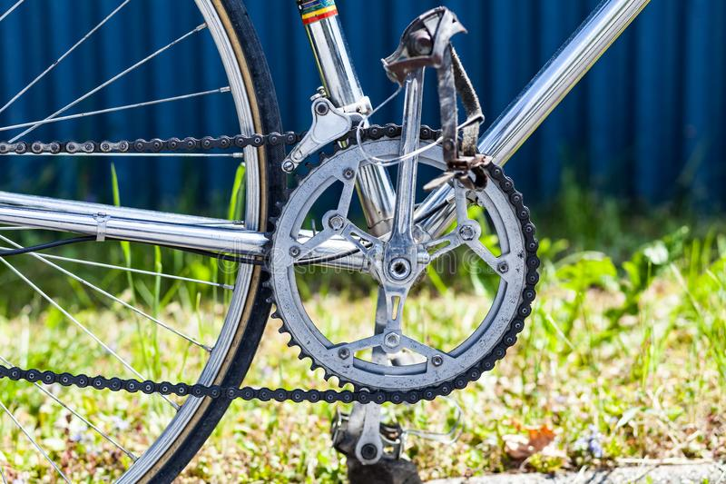 Chainring, chain, front derailleur, crank, pedals on vintage racing bicycle stock photos
