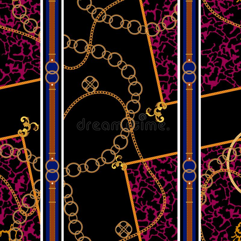 Chains and belts patch on spotted animal background. Vector seamless pattern for fabric, scarf stock illustration