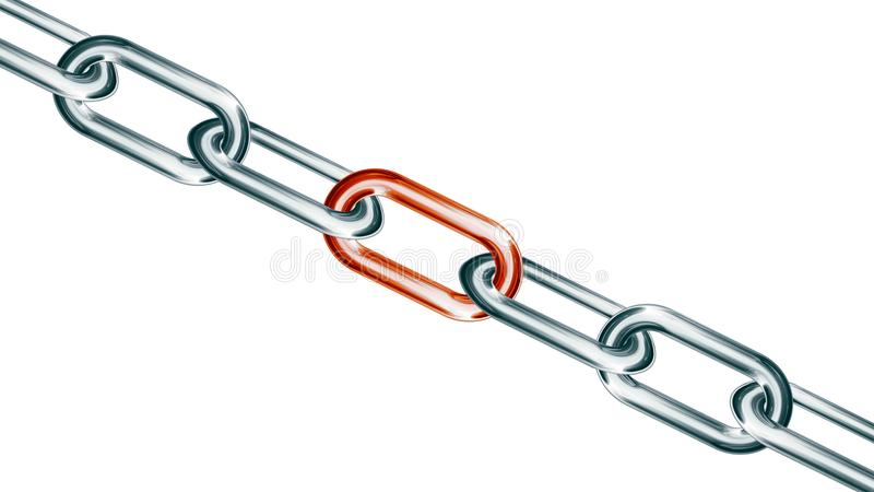 Chains are connected by red hot link on a white background, conn. Ected group concept image, leadership concept, teamwork concept 3D design royalty free illustration