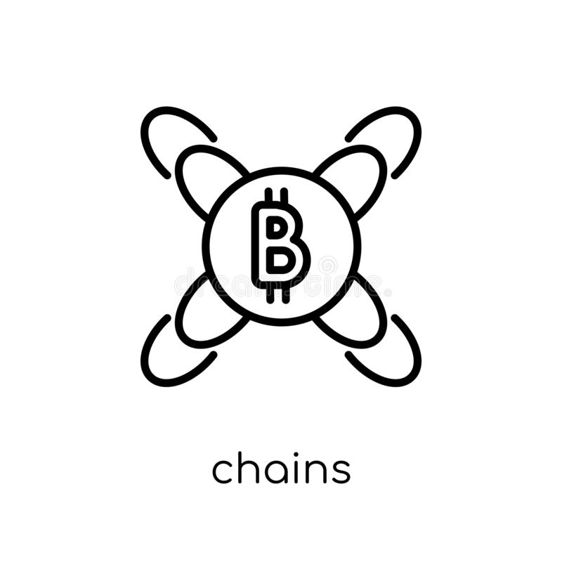 Chains icon. Trendy modern flat linear vector Chains icon on white background from thin line Cryptocurrency economy and finance c royalty free illustration