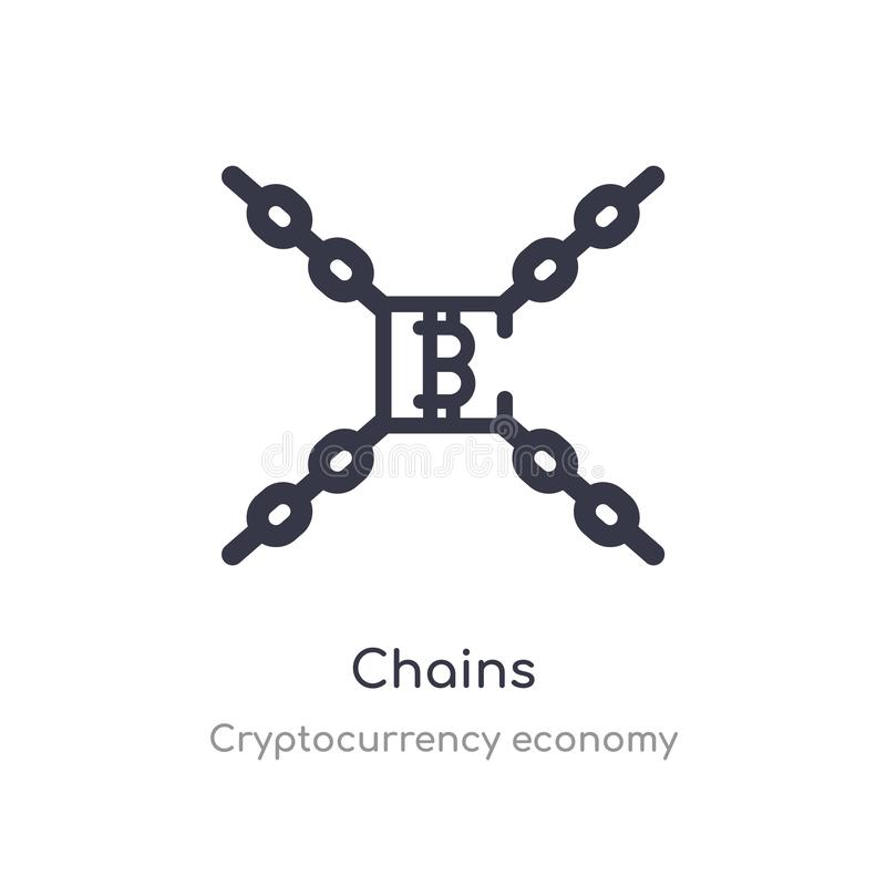 chains outline icon. isolated line vector illustration from cryptocurrency economy collection. editable thin stroke chains icon on stock illustration