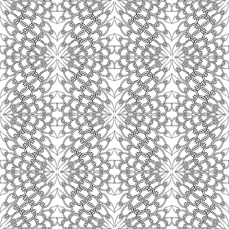 Chains seamless pattern. Vector knitted background. Ornamental lace backdrop. Patterned knit texture. Vintage grid floral ornament. With chains. Monochrome vector illustration