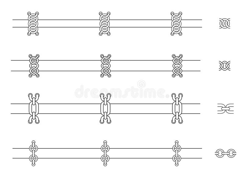 Chains web page dividers. Contour lines. Chains web page dividers. Vector contour lines clip art royalty free illustration