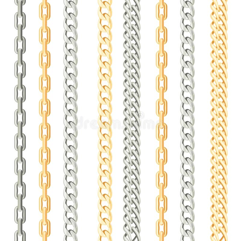 Chains metal vertical seamless pattern on white background. royalty free illustration