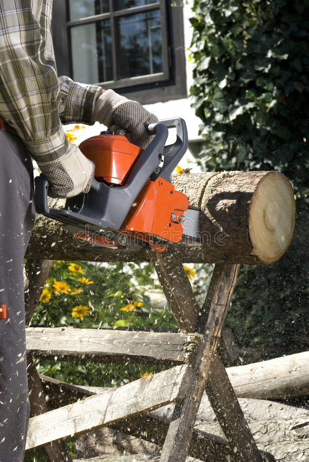 The chainsaw. Cutting the log of wood stock photos