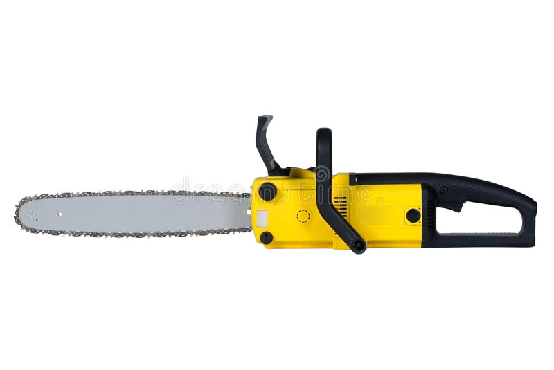 Chainsaw. Isolated over white background stock photos