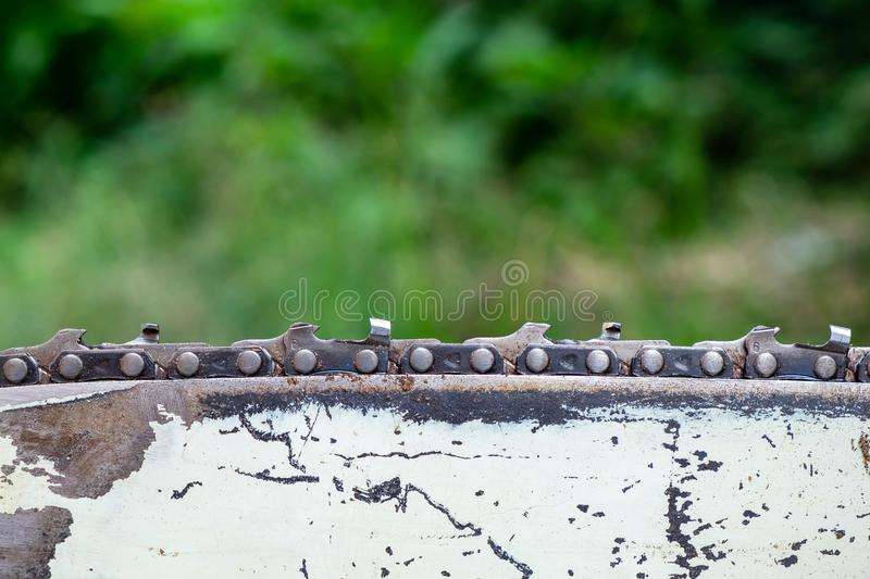 Chainsaw Blade After Used on Forest Background, Professional Equipment for Cut a Tree. royalty free stock photos