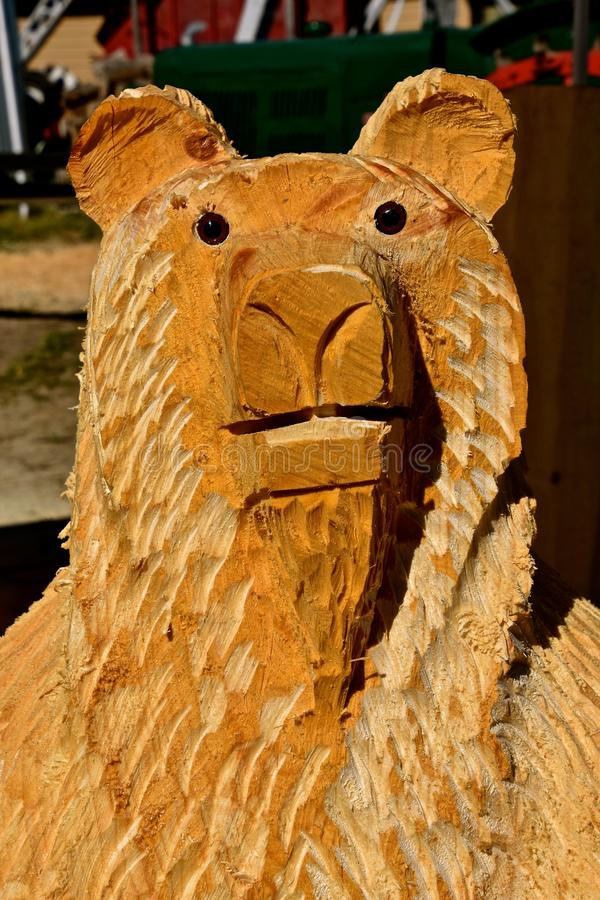 Chainsaw carving of a bear head. A friendly bear head is being carved with a chain saw from a large log royalty free stock photo