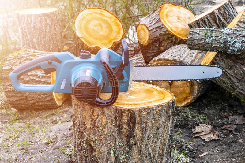 Chainsaw. Close-up of woodcutter sawing chain saw. Close up professional chainsaw blade cutting log of wood. Chainsaw bar and cutt royalty free stock images
