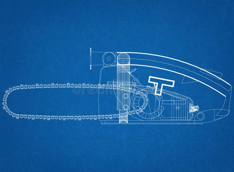 Chainsaw Design Architect Blueprint. Shoot Of The Chainsaw Design Architect Blueprint stock image