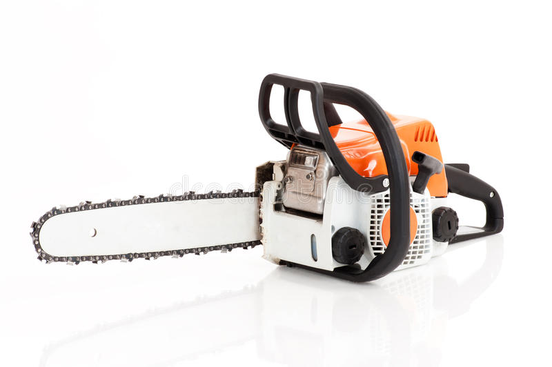 Chainsaw isolated on white stock image