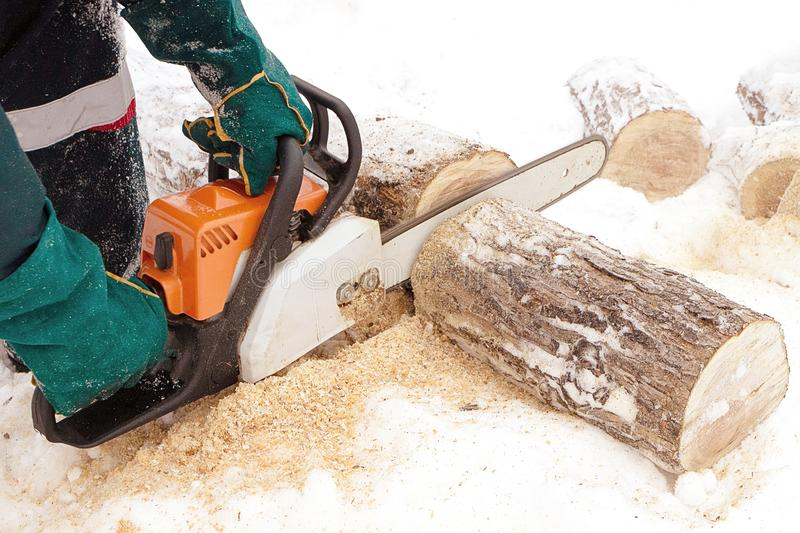 Chainsaw orange saws birch log in winter. Gloved hands holding a saw royalty free stock photos