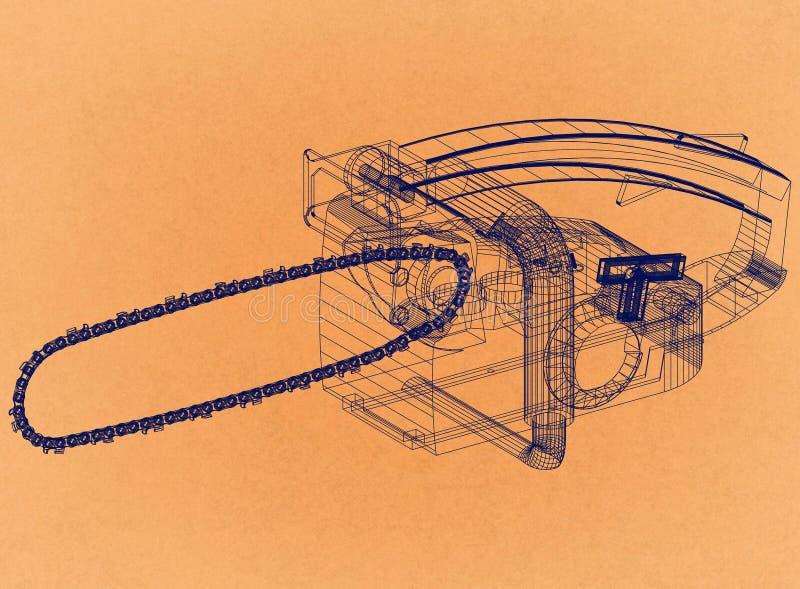 Chainsaw - Retro Architect Blueprint. Shoot Of the Chainsaw - Retro Architect Blueprint stock photography