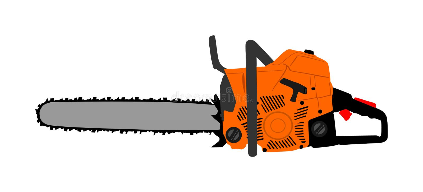 Chainsaw vector illustration isolated on white background. Hard industry job equipment. stock illustration