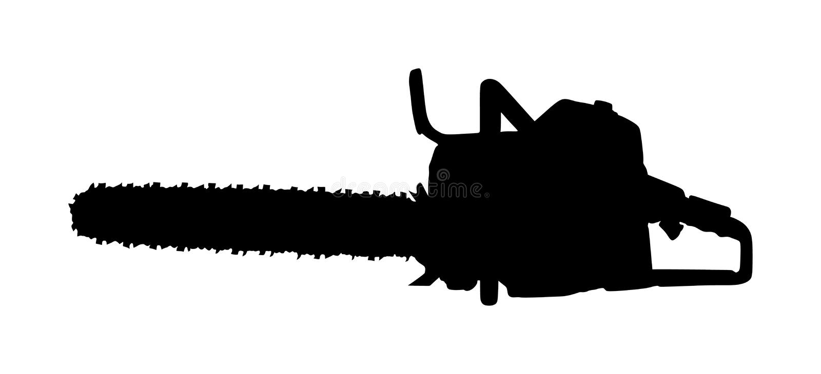 Chainsaw vector silhouette illustration isolated on white background. Hard industry job equipment. vector illustration